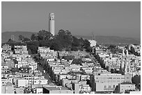 Coit Tower on Telegraph Hill, afternoon. San Francisco, California, USA ( black and white)