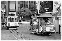 Cable car terminus. San Francisco, California, USA ( black and white)