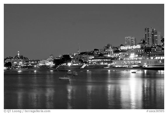 Aquatic park and Ghirardelli Square at night. San Francisco, California, USA (black and white)