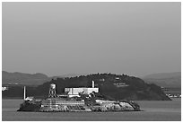 Alcatraz Island at sunset. San Francisco, California, USA (black and white)