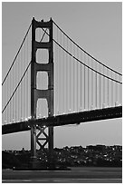 Golden Gate Bridge, sunset. San Francisco, California, USA (black and white)