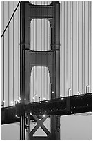 Golden Gate Bridge pillar,  sunset. San Francisco, California, USA (black and white)