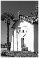 Facade and bell, Mission Nuestra Senora de la Soledad. California, USA (black and white)