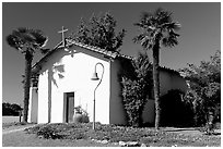 Facade of Mission Nuestra Senora de la Soledad. California, USA ( black and white)
