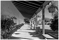 Corridor, Mission Nuestra Senora de la Soledad. California, USA (black and white)