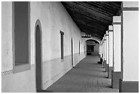 Corridor, Mission San Miguel Arcangel. California, USA (black and white)