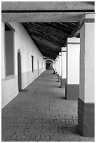 Corridor, Mission San Miguel Arcangel. California, USA ( black and white)