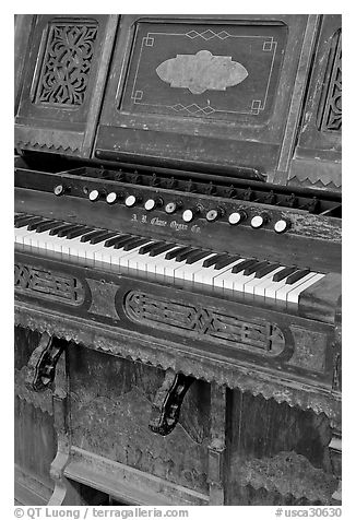 Old organ, Mission San Miguel Arcangel. California, USA (black and white)
