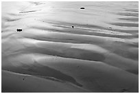 Ripples and wet sand on beach. Morro Bay, USA ( black and white)