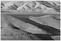 Hills in summer and San Luis Reservoir. California, USA (black and white)
