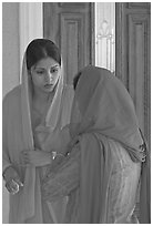 Indian woman in sari, Sikh Gurdwara Temple. San Jose, California, USA ( black and white)