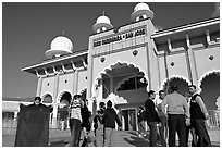 Indian immigrants gathering in fron of the Sikh Gurdwara Temple. San Jose, California, USA ( black and white)