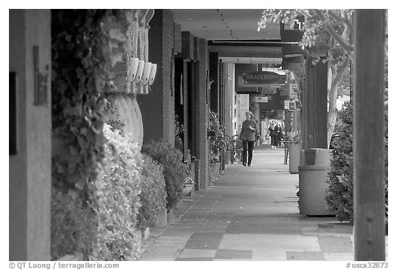 Shopping area of Santa Cruz avenue, the main downtown street. Menlo Park,  California, USA (black and white)