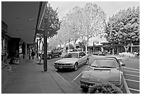 Ferarri on Santa Cruz avenue. Menlo Park,  California, USA (black and white)