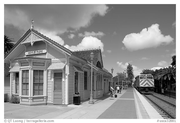 Train station in victorian style. Menlo Park,  California, USA (black and white)