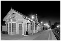 Train station (oldest in California) at night. Menlo Park,  California, USA (black and white)