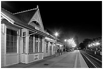Train station (oldest in California) at night. Menlo Park,  California, USA ( black and white)