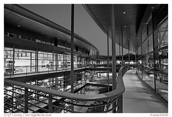 Newly constructed James Clark Center, dusk. Stanford University, California, USA (black and white)