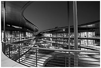 Curves of the James Clark Center, dusk. Stanford University, California, USA (black and white)