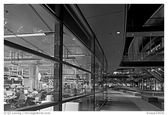 Laboratories in the James Clark Center at night. Stanford University, California, USA (black and white)