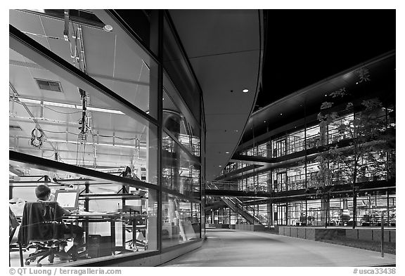 Labs at night, James Clark Center. Stanford University, California, USA (black and white)