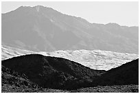 Hills, Kelso Dunes, and Granit Moutains from a distance. Mojave National Preserve, California, USA (black and white)