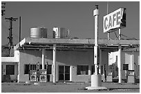 Cafe and gas station, historic route 66,  Amboy. California, USA (black and white)