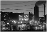 Chemical plant at dusk, Trona. California, USA (black and white)