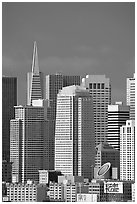 Financial district skyline with Museum of Modern Art building, afternoon. San Francisco, California, USA (black and white)