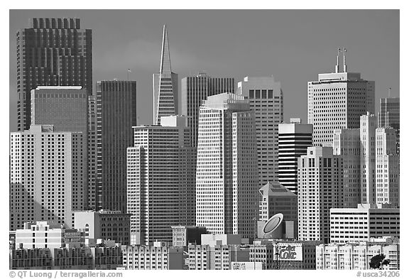 Financial district skyline with MOMA building, afternoon. San Francisco, California, USA (black and white)