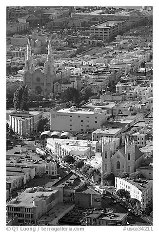 North Beach and Columbus Avenue from above, late afteroon. San Francisco, California, USA (black and white)