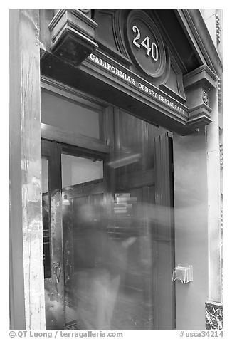 Entrance of California's older restaurant. San Francisco, California, USA (black and white)