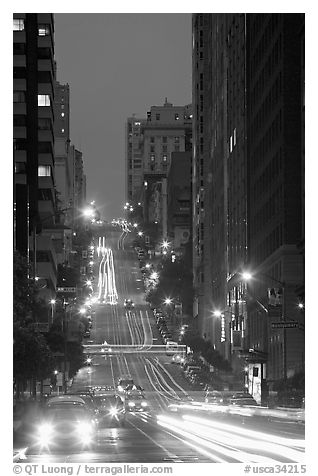 Steep street and lights at dusk. San Francisco, California, USA (black and white)