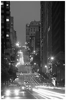 Steep street and lights at dusk. San Francisco, California, USA ( black and white)