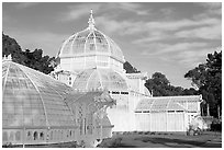 Side view of the Conservatory of Flowers, whitewashed to avoid heat absorption. San Francisco, California, USA (black and white)