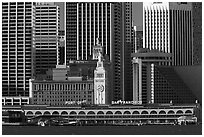Embarcadero and port of San Francisco building seen from Treasure Island, early morning. San Francisco, California, USA ( black and white)