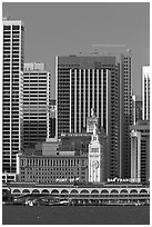 Embarcadero and Ferry Building. San Francisco, California, USA ( black and white)