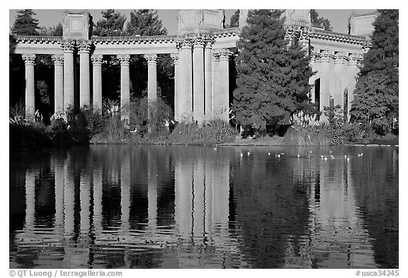 Colonades and reflection, Palace of Fine Arts, morning. San Francisco, California, USA (black and white)
