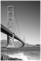 Wave and Golden Gate Bridge. San Francisco, California, USA ( black and white)