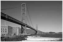 Fort Point and Golden Gate Bridge. San Francisco, California, USA ( black and white)