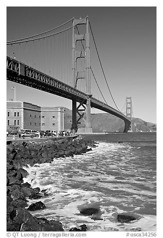 Three-story Fort Point below the Golden Gate Bridge. San Francisco, California, USA (black and white)