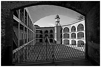 Fort Point courtyard and galleries. San Francisco, California, USA (black and white)