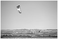 Kitesurfer in powerful waves, afternoon. San Francisco, California, USA ( black and white)