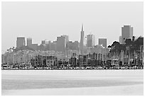 City skyline with Sausalito houseboats of Richardson Bay in the background. San Francisco, California, USA (black and white)