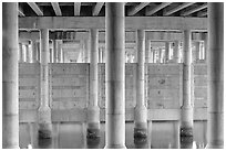 Underneath highway 101 bridge near Seminary Drive, Sausalito. California, USA (black and white)