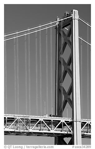 Pillar of Bay Bridge. San Francisco, California, USA (black and white)