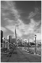 Wooden pier and Transamerica Pyramid, morning. San Francisco, California, USA (black and white)