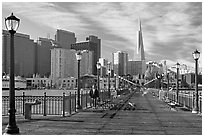 Pier seven and skyline, morning. San Francisco, California, USA ( black and white)