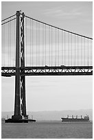 Bay Bridge and tanker,  morning. San Francisco, California, USA (black and white)