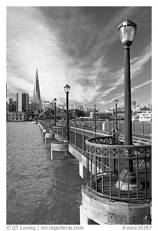 Pier 7 and city skyline. San Francisco, California, USA (black and white)